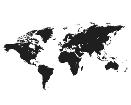 black World map isolated on white background Stock Photo