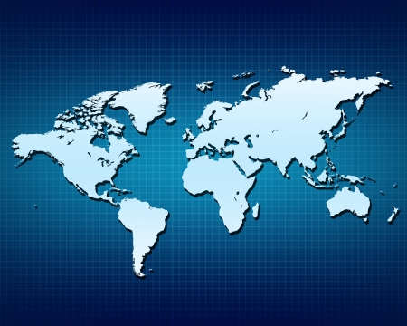World globe Map isolated on blue gradient