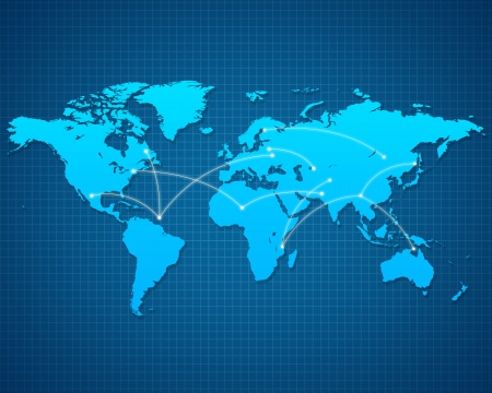 World Map with destinations on blue background