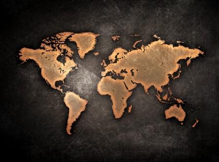vintage grunge world map globe isolated on black Stock Photo