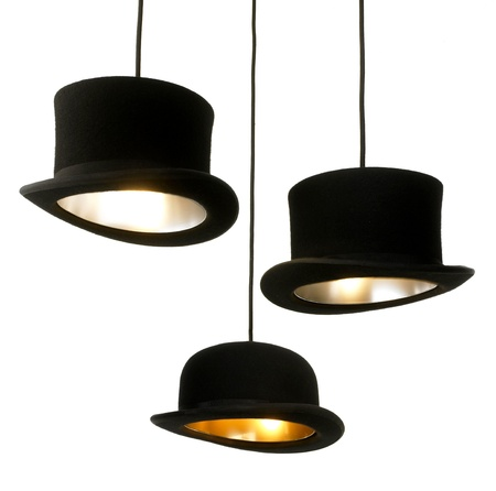 lamps made from topper hats isolated on white background Stock Photo