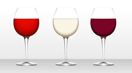 three Wine Glass isolated on white background. Red and white wine