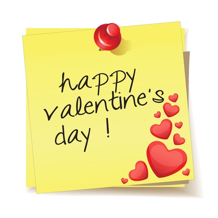 Yellow stick note with the message happy valentines day