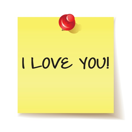 Yellow stick note with the message i love you on white background