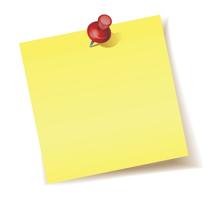 Yellow Sticky Note with push pins on white background