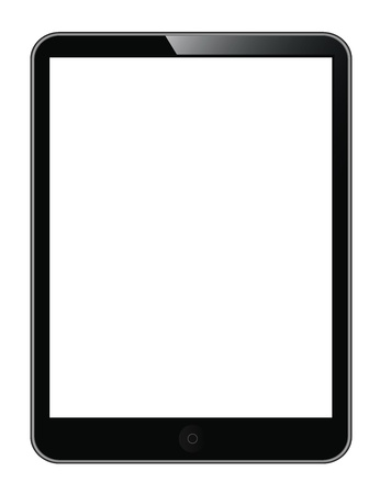 black tablet PC isolated on white background. ebook tablet photo
