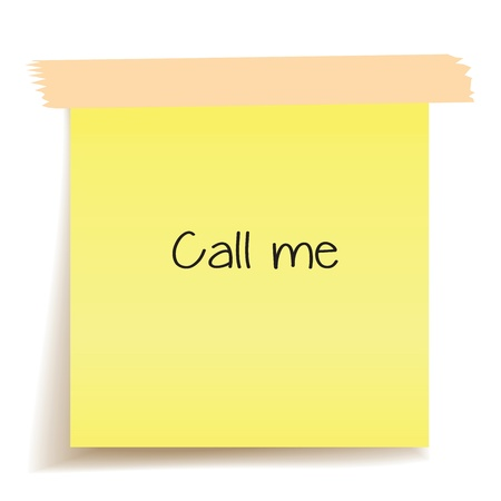 Yellow Sticky note with the message Call me. White background photo