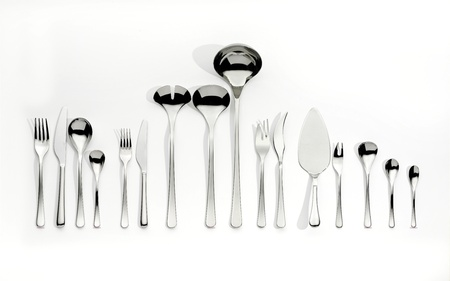 silver cutlery: Cutlery set with Fork, Knife and Spoon on white background  Stock Photo
