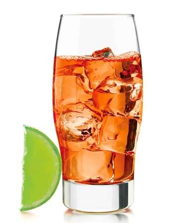 tall glass with cocktail drink with ice isolated on white background