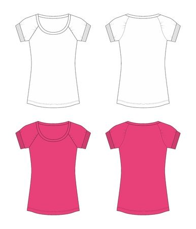 blank woman t-shirts template with pink and white color photo