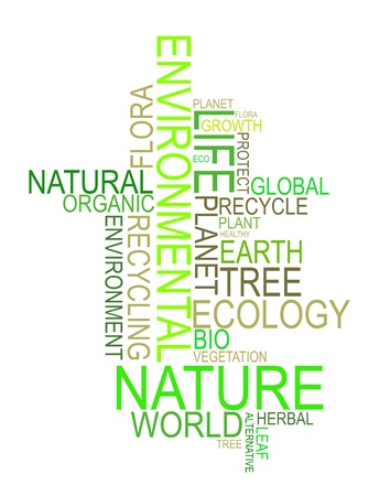 save planet: Bio and Ecology made from words on white background