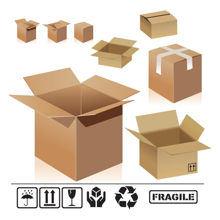 different shape of cardboard boxes on white background. Open and closed empty cardboard boxes