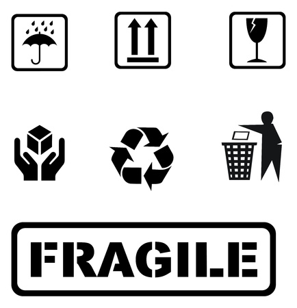 all Recycle signs on white background. signs for boxes