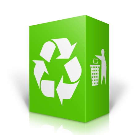 office environment: Recycle concept with green box and Recycle sign isolated on white background Stock Photo