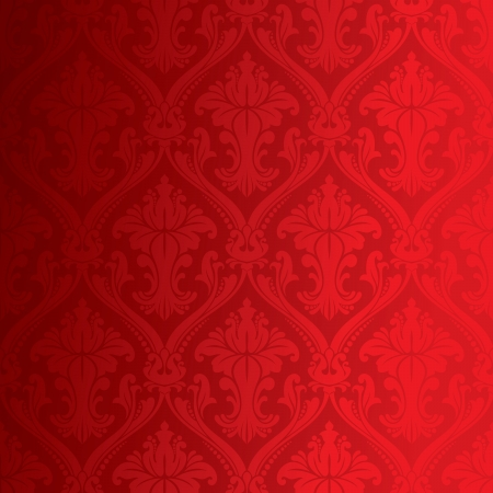 Seamless red damask floral background wallpaper pattern  Vector