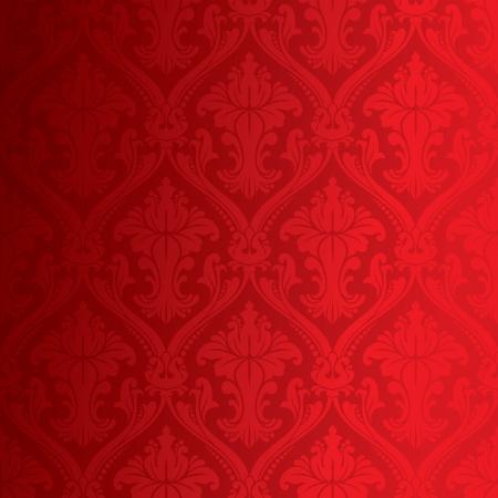 Seamless red damask floral background wallpaper pattern  Illustration