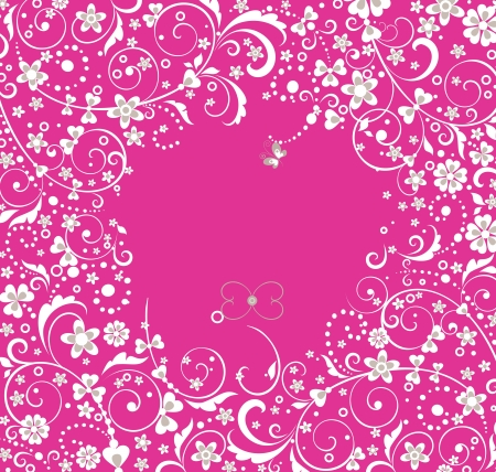 Damask seamless pink floral pattern background texture