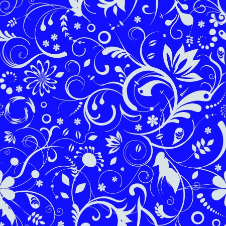 blue Damask Seamless floral Pattern background texture