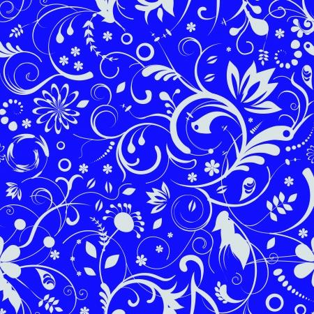 blue damask: blue Damask Seamless floral Pattern background texture