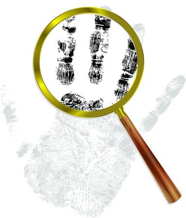 fingerprint through gold magnifying glass. detective concept Illustration