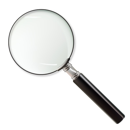 Detective magnifying glass isolated on white background. Realistic  magnifying glass Illustration