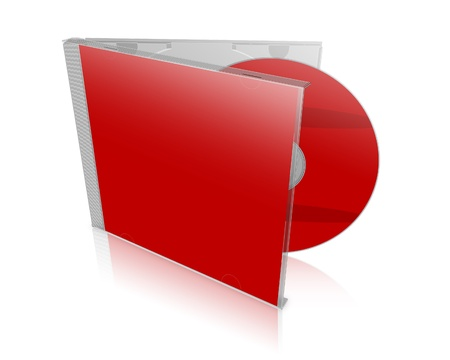 3D red DVD case with shadows on white background photo