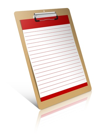 write on blank Clipboard isolated on white background
