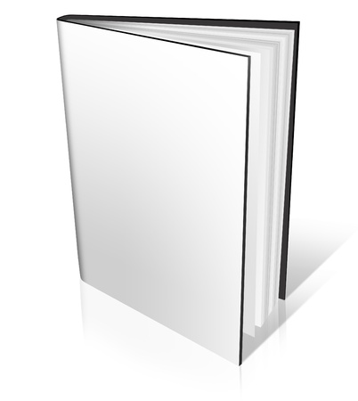 hard cover: 3D white blank Hard Cover Book Open on white background