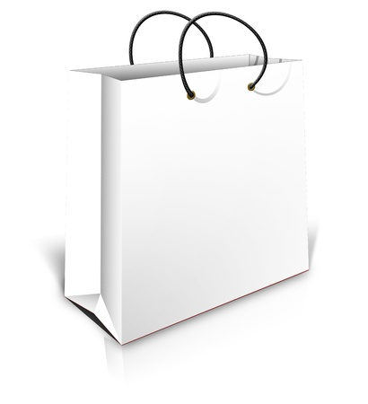 white shopping bag with shadows isolated on white background Stock Photo - 18143015