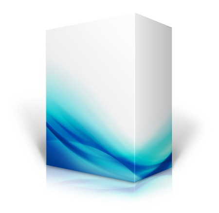 3D blue and white box isolated on white background