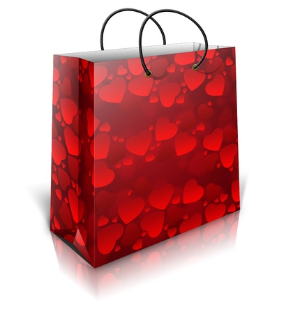 3D bag with red hearts isolated on white background