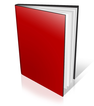 red book: red Hard Cover Book Open on white background Stock Photo