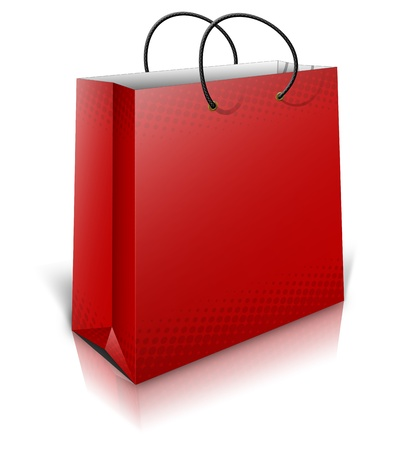 3D red Gift Bag with shadows isolated on white background