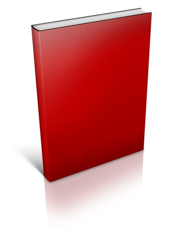 red Hard Cover Book with shadows on white background Stock Photo