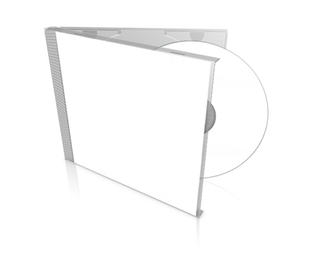 3D blank DVD case isolated on white background
