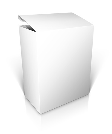 3D blank open box isolated on white background