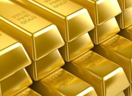 lingotes de oro: pila de barras de oro 3D. textura oro papel tapiz de fondo Foto de archivo