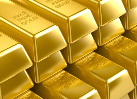 stack with 3D gold bars. gold texture background wallpaper photo