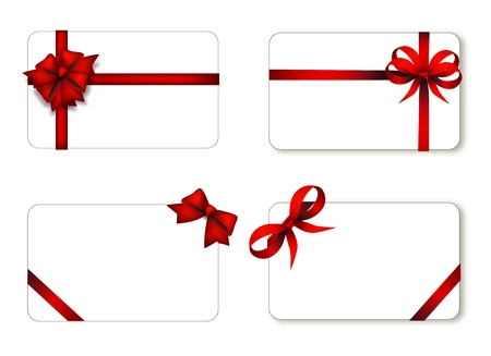 Set of card note with red gift bows with ribbons on white background