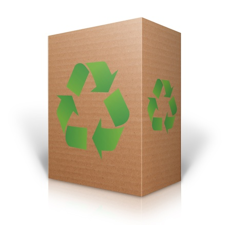 stockpile: Recycle sign on a 3D Cardboard box isolated on white background