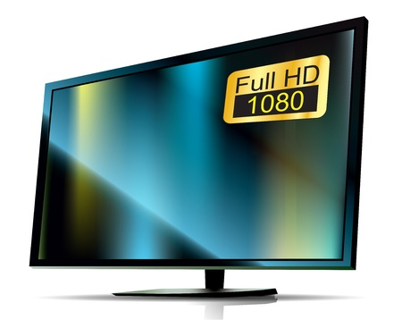 flat screen tv: black TV Full HD. high definition tv on white background Stock Photo