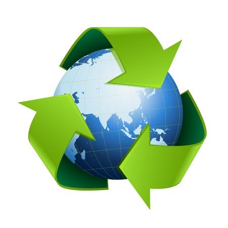world globe with Recycle symbol around on white background
