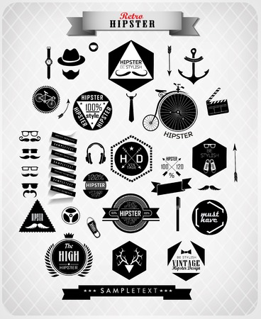 Hipster style elements, icons and labels can be used for  retro vintage  website, info-graphics, banner Vector