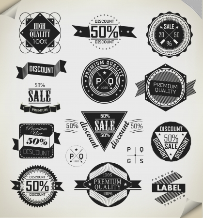 Premium Quality, Guarantee and sale Labels  and typography design Vector