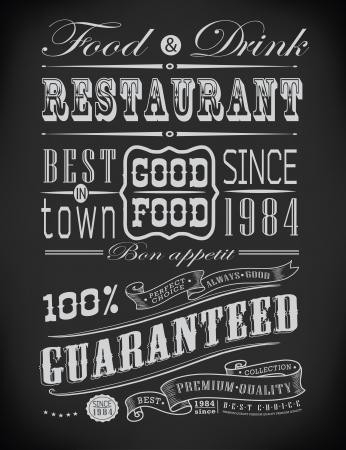 lavagna: Set di Vintage Retro elementi tipografici ristorante  decorazione