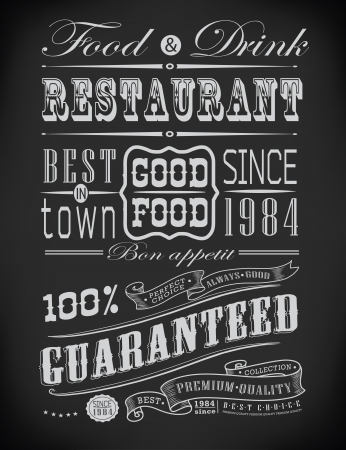 Set of Vintage Retro typographic restaurant elements decoration Çizim