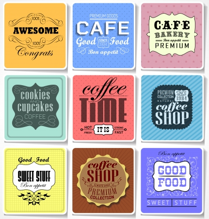 Retro bakery labels and typography, coffee shop, cafe, menu design elements, calligraphic Stock Vector - 23474521