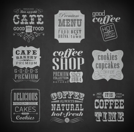 Retro bakery labels and typography, coffee shop, cafe, menu design elements, chalk calligraphic drawing with chalk on blackboard Vector