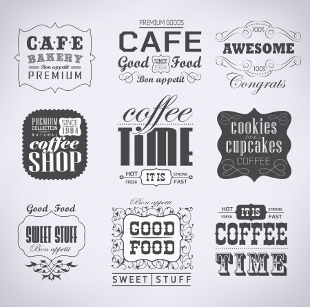 Retro bakery labels and typography, coffee shop, cafe, menu design elements, calligraphic Vector