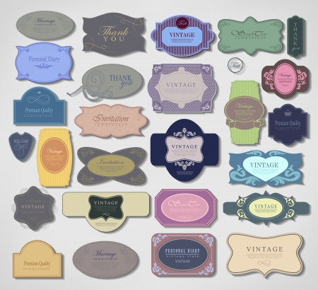 Vector set vintage retro labels Premium Quality, Guarantee Vector